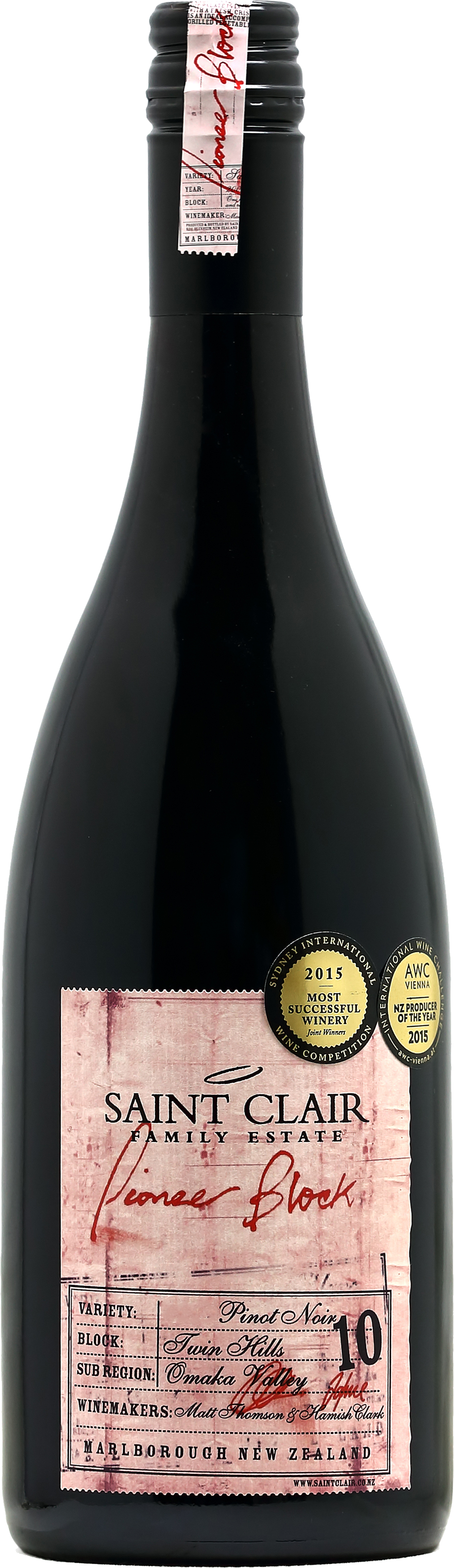 2018-Saint Clair Pinot Noir Pioneer Block 10 Red